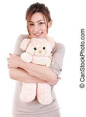 テディ, 甘い, 熊, 抱き合う, 包含, 女の子