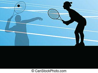 テニスプレーヤー, シルエット, ベクトル, 背景, 活動的, スポーツ
