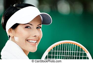 テニス, の上, プレーヤー, 女性の専門家, 終わり