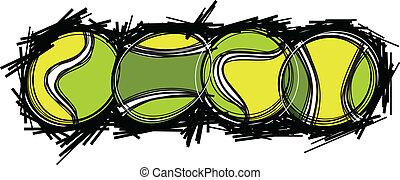 テニス, イメージ, ベクトル, テンプレート, ボール