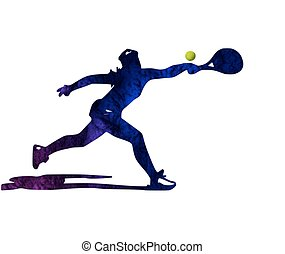 テニス, シルエット, プレーヤー