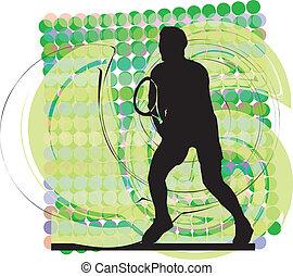テニス, ベクトル, players., イラスト