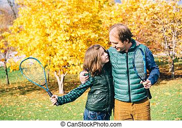 テニス, 公園, ラケット, 父, 秋, 息子