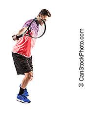 テニス, 遊び, 人, 若い