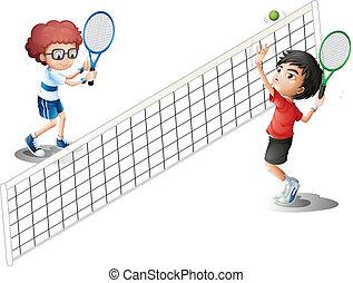 テニス, 遊び, 子供