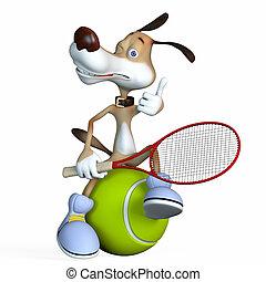 テニス, player., 犬, イラスト, 主題