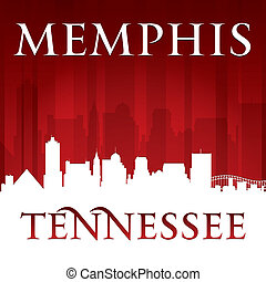 テネシー州, 背景, スカイライン, メンフィス, 都市, 赤, シルエット