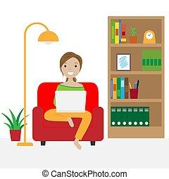 テレコミューティング, ソファー, モデル, 女, 仕事, laptop.