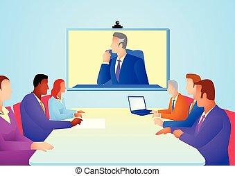 テレコンファレンス, ミーティング, 持つこと, ビジネス 人々