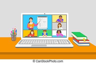 テレコンファレンス, リモート, クラス, 事実上, 勉強, 子供
