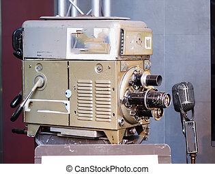 テレビカメラ, 古い, マイクロフォン, 時間