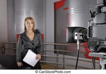 テレビニュース, レポーター, そして, ビデオカメラ
