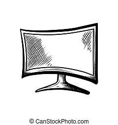テレビ, ∥あるいは∥, コンソール, 監視 tv, 隔離された, 手, 装置, oled, 背景, ゲーム, 4k, フィルム, 引かれる, 遊び, 血しょう, 透明, hd
