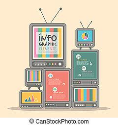 テレビ, デザイン, タワー, infographics