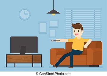 テレビ, 人, home., 若い, 監視
