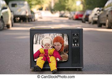 テレビ, 古い, コラージュ, 母, 赤ん坊
