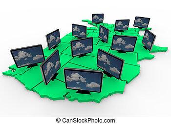 テレビ, 地図, hdtv, アメリカ, 多数