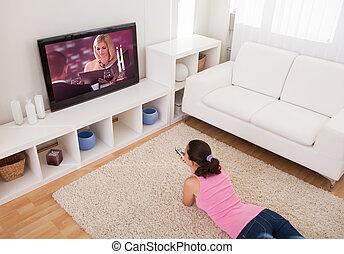 テレビ, 女, 若い, 監視