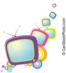テレビ, 抽象的, バックグラウンド。, ベクトル, デザイン, イメージ