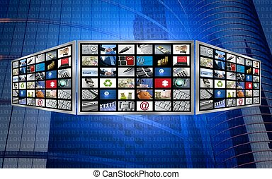テレビ, 概念, スクリーン, マルチメディア, 世界的である, 技術, 3d