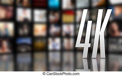 テレビ, 概念, スクリーン, lcd, 4k, パネル