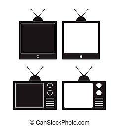 テレビ, illustration., 古い, モニター, ベクトル, tv., アイコン