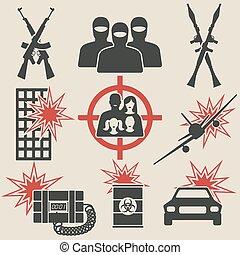 テロリズム, セット, アイコン