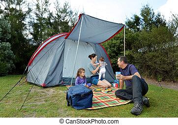 テント, キャンプ, 家族, 屋外で
