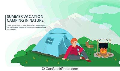 テント, キャンプ, 背景, 人, 旗, 夏, キャンプファイヤー, モデル, 山, デザイン, 平ら, 自然, 次に, イラスト, ベクトル