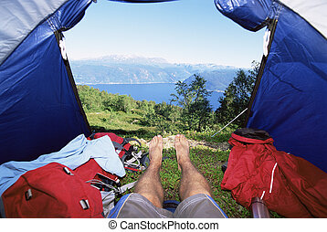 テント, 人, 湖, あること, 光景