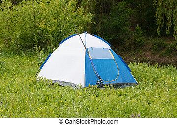 テント, 屋外, 棒, 釣り, キャンプ