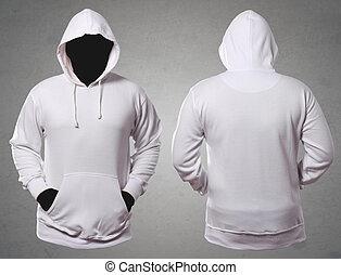 テンプレート, の上, mock, スペース, 白, 背中, 前部, 匿名, ビュー。, 流行, コピー, hoodie...