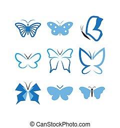 テンプレート, アイコン, デザインを設定しなさい, 蝶, ベクトル