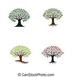 テンプレート, アイコン, ベクトル, 木, セット, ロゴ