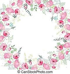 テンプレート, ケシ, 広場, 抽象的, 花, ハーブ, 定型, ピンク