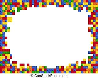 テンプレート, コンストラクター, デザイン, ブロック, フレーム, 色, 平ら, プラスチック