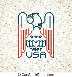 テンプレート, シンボル, emblems., アメリカ人, イラスト, アメリカ, ワシ, ベクトル, 旗, 作られた