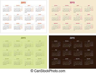 テンプレート, セット, ベクトル, 年, 2015, カレンダー