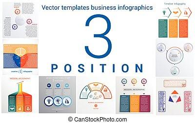 テンプレート, セット, ポジション, 普遍的, 3, infographics