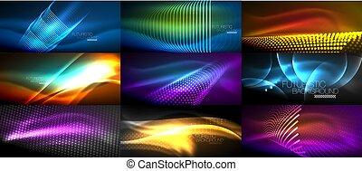 テンプレート, セット, マジック, 絶え間がない, 背景, 抽象的, 夜, ネオン, 暗い, 波, lights., 照ること