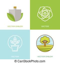 テンプレート, セット, 園芸, -, ベクトル, デザイン, 概念, ロゴ