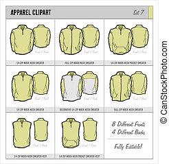 テンプレート, セット, -, 7, ブランク, 服装