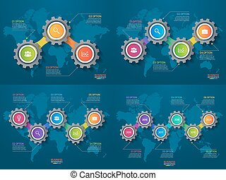 テンプレート, セット, processes., ビジネス, 部分, 産業, 概念, map., infographic, ベクトル, ギヤ, 世界, ステップ, オプション