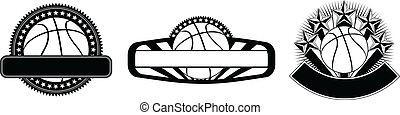 テンプレート, デザイン, バスケットボール, 紋章