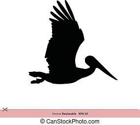 テンプレート, -, デザイン, ベクトル, シルエット, ロゴ, ペリカン, イラスト, 鳥