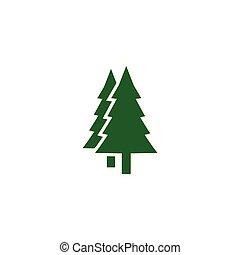 テンプレート, デザイン, ロゴ, 木, 松, アイコン, 緑