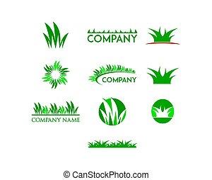 テンプレート, デザイン, ロゴ, 草, セット