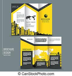 テンプレート, ビジネス, パンフレット, tri-fold, 広告