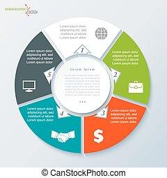 テンプレート, ビジネス, ベクトル, 円, infographic