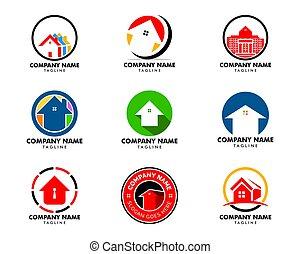 テンプレート, ベクトル, デザイン, イラスト, 家, 円, セット, ロゴ